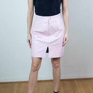 Vintage Baby Pink Leather Knee High Skirt Small
